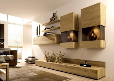 Utilizing wall space for storage.