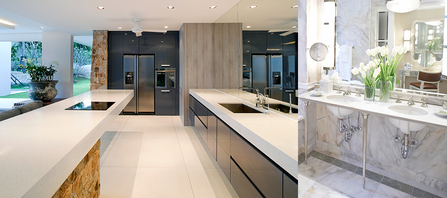 Modernizing with natural stone in kitchens and bathrooms.